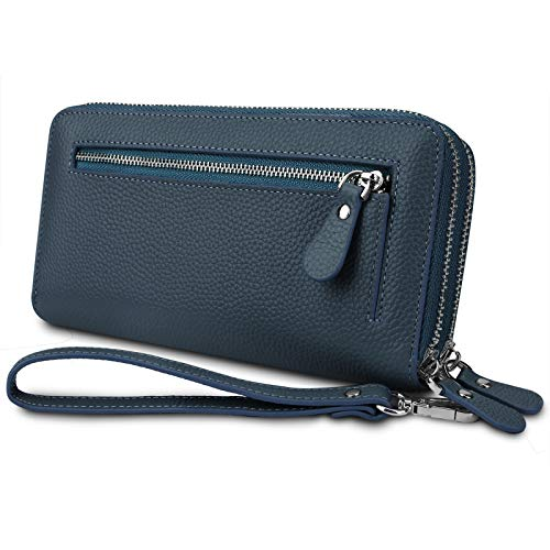YALUXE Femme Portefeuille Blocage RFID Double Zipper Grand Capacité avec Dragonne Cuir de Vachette Bleu Saphir