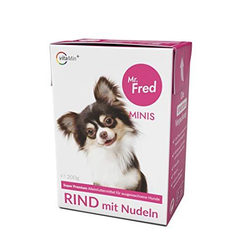 Mr. Fred- Hundefutter nass | Super Premium Nassfutter für Hunde | 10 x 200g | 100% Lebensmittelqualität | Rind mit Nudeln | wiederverschließbar
