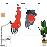 1960sations Window Drapes,Motor Scooter Doodle in Nice Sixties Style Driving Motorcycle Urban Cartoon Clipart Blackout Curtains for Sliding Glass Door,2 Panel Set,W42 x L45 Each Panel