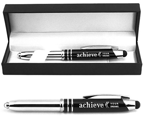 'Achieve Your Dreams' Engraved Gift Pen with LED Light and Stylus Tip -...