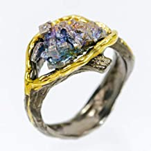 Handmade Jewelry Natural Bismuth 13x8 mm. 925 Sterling Silver Ring Size 8 us /AZR01800