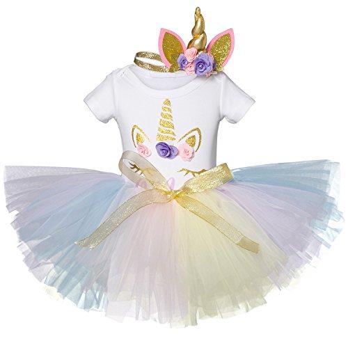 NNJXD Mädchen Einhorn Blume Regenbogen Tutu 1. Geburtstag 3 Stück Outfits Strampler +Rock+ Gold Stirnband Größe (1) 1 Jahre Lila