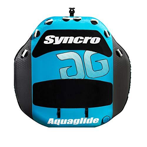 Aquaglide Synchro 4-Ciambella da Traino Gonfiabile, con Schienale, Colore: Nero/Blu