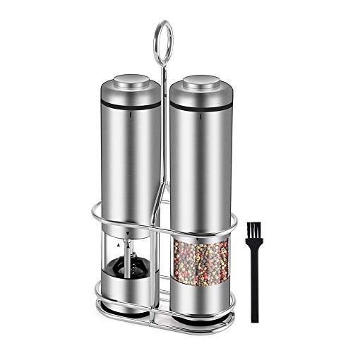 Elektrische Salz und Pfeffermühle Set, Batteriebetriebene Streuer mit LED Leuchten und Keramikmühlen, Einstellbare Körnung, Hochwertige Edelstahlmühlen mit Acrylständer, Perfekte Würzung, BPA-Frei