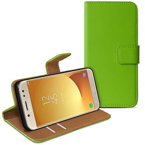 eFabrik Tasche für Samsung Galaxy J5 DUOS (2017) Tasche Hülle Book Cover Hülle Schutztasche Schutzhülle SM-J530F, Farbe:Grün