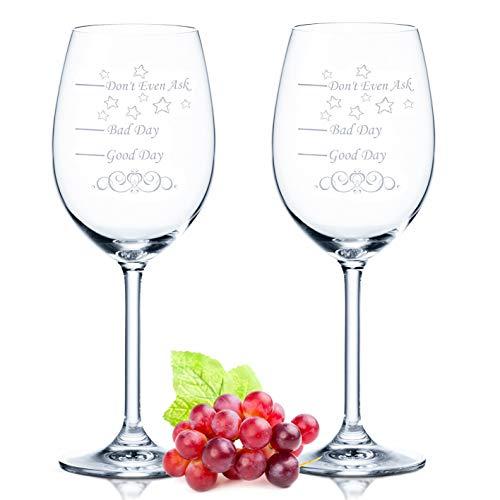2x Leonardo XL Weinglas - Good Day Bad Day Don't Even Ask - Geburtstagsgeschenk - Lustige Geschenke - Geeignet als Weißweingläser Rotweingläser - Originelles Geschenk - Weingläser