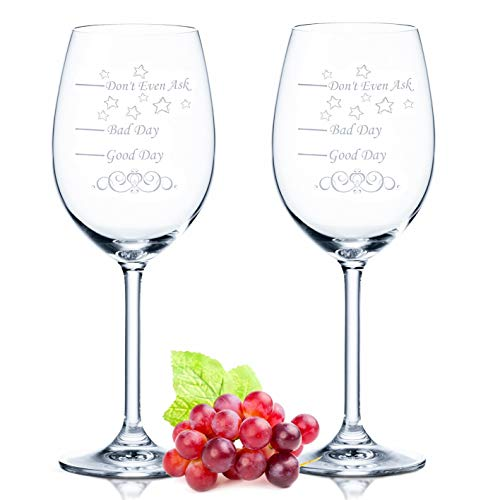 Leonardo XL - Juego de 2 copas de vino - Good Day Bad Day Don't Even Ask - Regalo de cumpleaños - Regalos divertidos - Adecuado como copas de vino blanco copas de vino tinto, regalo original