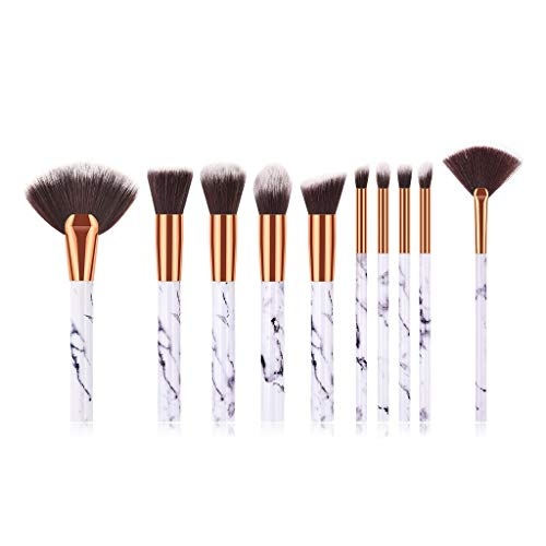 MEIYY Pinceau de maquillage Makeup Brushes 10 Pcs Marble Makeup Brushes Including Brush Bag Powder Puff Combination Set Make Up Brush