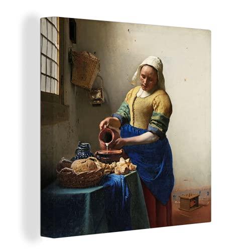 Canvas Schilderijen Het melkmeisje – Johannes Vermeer – 60×80 cm – Wanddecoratie – canvas met 2cm dik frame