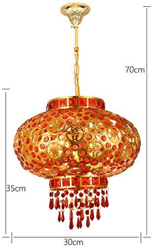 Zenghh Subtítulos rodadura diamante de la lámpara cubierta de suspensión de techo exterior de la lámpara Sombra-cuadro de linterna chino mandarín Rotatorio escénico E27 360 ° de rotación de la luz roj