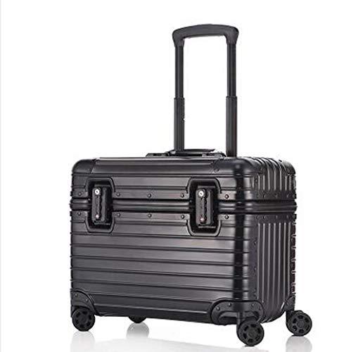 アルミ製スーツケース!全金属トランク アルミ合金ボディ 旅行用品 TSAロック搭載17/20/21/22インチ 機内持ち込み キャリーバッグ キャリーケース小型 (17インチ, ブラック)