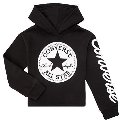 Converse - Kurzes Sweatshirt Patch Cropped Mädchen mit Kapuze 469889 023 Schwarz - M, Schwarz