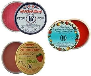 Rosebud Perfume Co. Tin 3 Pack: Smith's Rosebud Salve + Smith's Strawberry Lip Balm + Smith's Rose and Mandarin Lip Balm