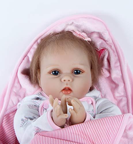 ZIYIUI Muñecas Reborn Bebé 22 Pulgadas 55 cm Realista Suave Silicona Simulación Vinilo Recién Nacido Niña Hecho a Mano Bebe Muñecos Regalo Magnetismo Juguetes para Niños Mayores de 3 años Doll