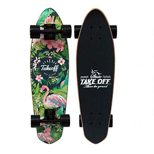 Skateboards JXYH Ahornholz Kleines Fischbrett Geschenk Professioneller 4-Rad-Skate Grün Einzelne Rocker Bürstenstraße Last 100kg 67 * 19 * 12 (Color : Green, Size : 67 * 19 * 12cm)