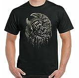 Skull T-Shirt Mens Grim Reaper Tattoo Biker Motorbike Gothic Heavy Metal Angel Black XXL