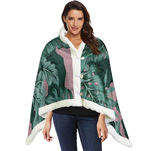 Verde Retro Banana Palm Leaves Wrap Shawls Wearable Kids Blanket 53x30 pulgadas con 3 botones para sofá al aire libre Chal Wrap para mujeres Calentamiento Lanzamiento