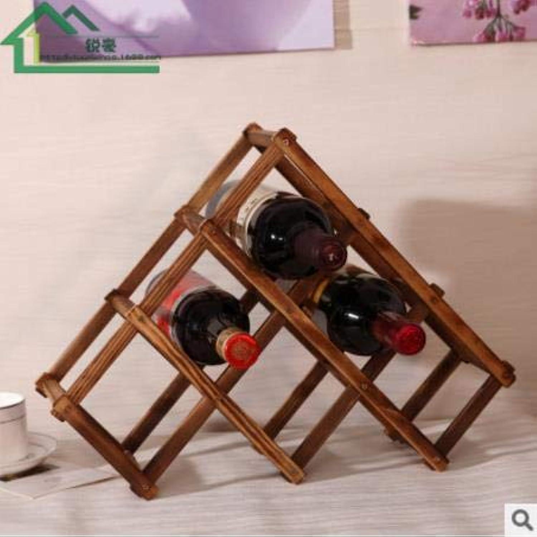 HIFUAR Wooden Red Wine Rack 3 6 10 Bottle Beer Kitchen Holder Exhibition Organizer Holder Bar Display Shelf Organizer Home Table   B6