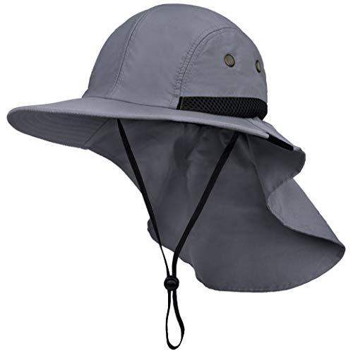 Fishing Hat with Neck Flap, Sun Protection Hiking Hat for Men Women Safari Cap Gray