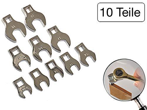 10 teiliges Set Krähenfußschlüssel 10 mm - 19 mm aus Chrom-Vanadium Stahl