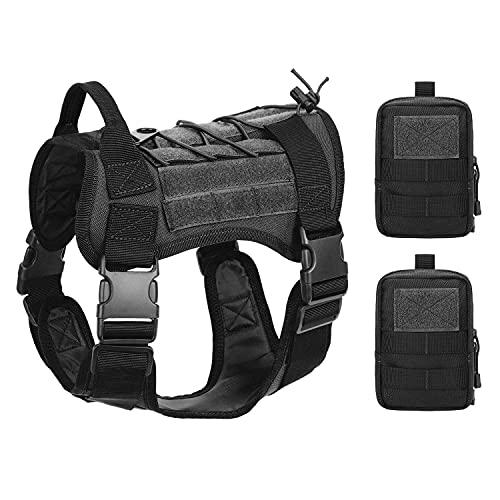 Obemisk Tactical Dog Harness for Medium Dogs, Military Dog Harness with Handle, No-Pull Service Dog Vest with Hook & Loop Panels, K9 Adjustable Dog Vest Harness for Training Hunting Walking, Black