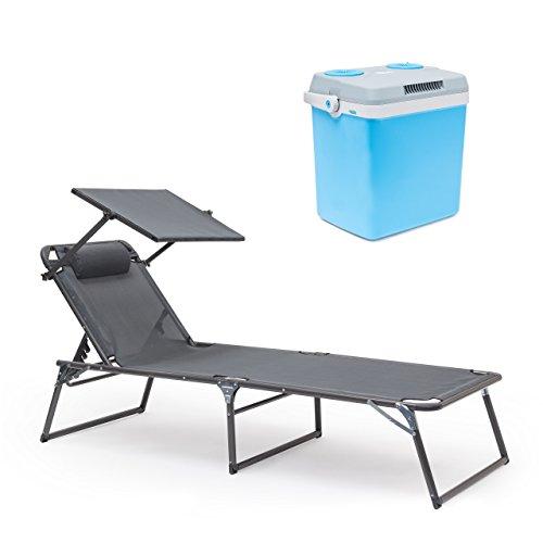 Relaxdays Kühlbox für Auto, elektrische Warmhaltebox, Thermotasche 25 l, 12V 230V Stecker, HxBxT: 45 x 45 x 33 cm, blau