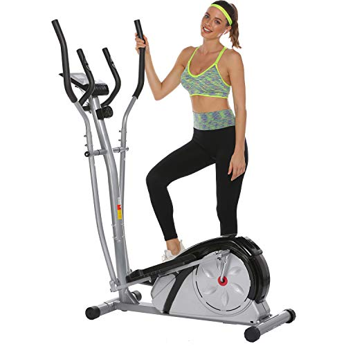Aceshin Elliptical Machine Trainer Compact Life Fitness Exercise Equipment for Home Workout Offic Gym (Silver.)