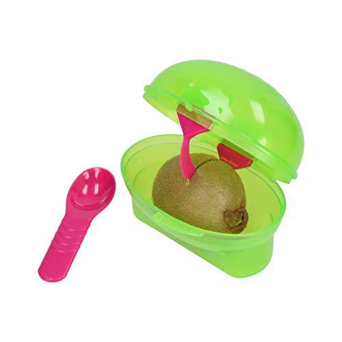 elasto Hochwertige Kiwibox Kiwi to Go Wiederverwendbare Vorratsdose mit Löffel und Kiwi-Messer Transportbox für Kleine Snacks