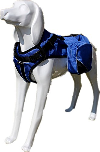 haoyueer No Pull Harness Therapy Dog Service Vest Removable Saddle Bag Dogs Backpack Harness(Blue,L)