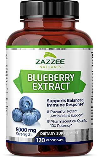 Zazzee Whole Fruit Blueberry Extract, 5000 mg Strength, 120 Vegan Capsules, Potent 10:1 Extract, 4 Month Supply, Vegan, All-Natural and Non-GMO