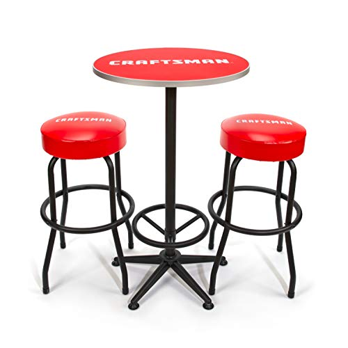 Craftsman 3-Piece Workshop/Garage Table and Shop Stool Set, 39-inch High Circular Table, 28.5-inch High Rip-Resistant Cushioned Stools, 360-degree Footrests (CMXZSAJ94793)