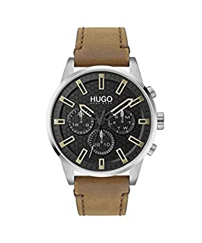 HUGO by Hugo Boss Men s #Seek Stainless Steel Quartz Watch with Leather Calfskin Strap Brown 22  Model  1530150