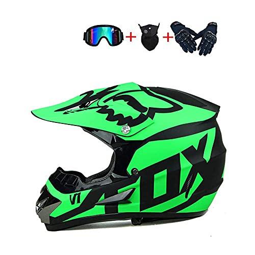 WAHA Casco de Motocross,Adultos Offroad Motorcycle Casco para Hombres Protección de Seguridad para Las señoras para,con Gafas Guantes de máscara(5 Colores),Verde,S