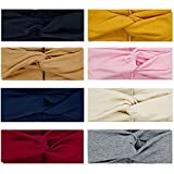 8 Pack Headbands for Women Wide Head Wrap Knotted Elastic Teen Girls Yoga Workout Hair Accessories (Color S)