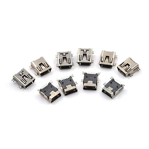 Connectors - 10pcs Micro Usb Connector 5pin Seat Jack Four Legs 5p Inserting Plate Mini - Vertical Tube Cable Hdmi Plate Flash Circuit Male Stick Drive Router Panel Mixer Wire Micro Inser