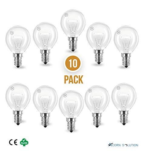 AcornSolution Mini Globes Klare runde Glühbirne, E14 kleine Basis,240 V, 40 W, Energieeffizienz: E-10Pack