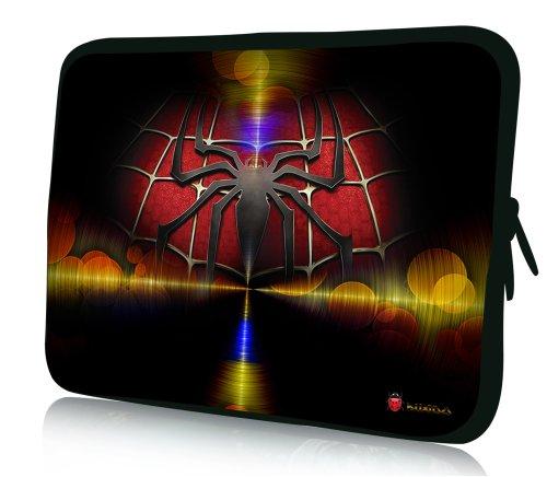 wortek Universal Notebooktasche Schutzhülle aus Neopren für Laptops bis ca. 15,4 Zoll - Spinne Rot