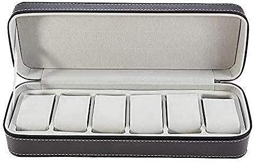 PLMOKN Caja de Almacenamiento con Cremallera de Reloj de Cuero de 6 cabinas de Cuero. (Color : Black, Size : Small)