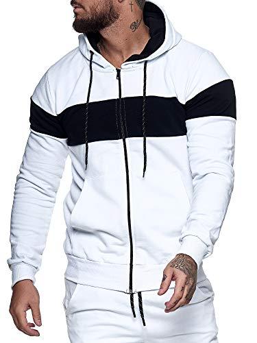 OneRedox Herren Pullover Zip Jacke Sweatshirt Longsleeve Langarm Hoodie Modell H-1268 Weiss Schwarz XL