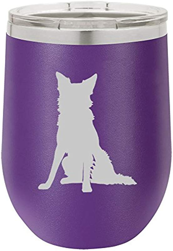12 Oz Double Wall Vacuum Insulated Stainless Steel Stemless Wine Tumbler Glass Coffee Travel Mug With Lid Border Collie Purple