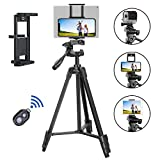 "TAIROAD Phone Tripod, Portable Lightweight Aluminum Travel Tripod with Carry Bag & Bluetooth Remote, 1/4"" Mounting Screw for iPhone Tripod/DSLR Camera and 2 in 1 Clip for Smartphone and iPad"