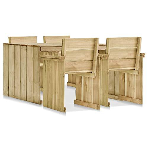 Lechnical Garten Esstisch und Stuhl Set, hochwertige imprägnierte Kiefer Tisch und Stuhl Set, Kiefer Gartenmöbel 5-teiliges Set.