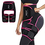 Waist Trainer for Women, 3 in 1 Neoprene Sweat Thigh Trimmer Butt Lifter (NEW-Red, M:fits Pants Size XXS-M)