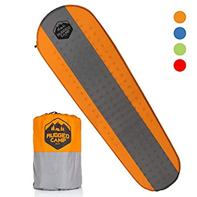 Rugged Camp Self Inflating Camping Mat - Foam Sleeping Pad is 1.5 Inches Thick Perfect for Hiking, Backpacking, Travel - Lightweight, Waterproof & Compact Camping Air Mattress (Orange)