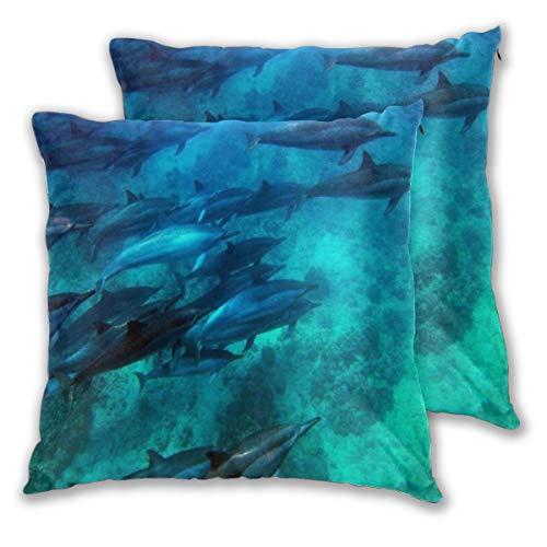 KASABULL 2 Pack Kissenbezüge Scuba Dolphin Buntes Tier Schwimmen Tauchen Tiefe Tiere Wildlife Nature Water Coral Island Quadratische Kissenhüllen für das Wohnzimmer-Sofa, Schlafzimmer 60cm x 60cm