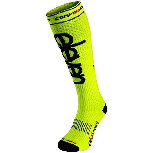 Eleven Kompressionsstrümpfe | Kompressionssocken | Laufsocken | Compression Socks | Strümpfe | Thrombosestrümpfe | Damen | Herren zum Sport, Laufen, Flug, Reise (Fluo Gelb, S (EU 36-38))