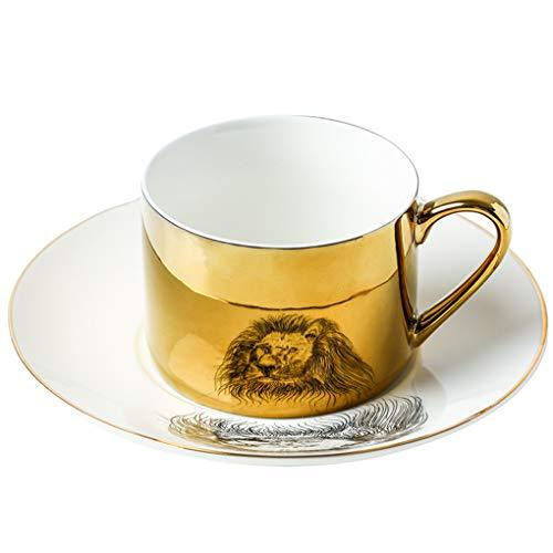 RONGJJ Bedruckt Porzellan-becherset Keramik, Kaffee-Tee-Wasser-Becher-Set, Espressotassen, Teetasse & Untertasse-Set, Kaffeetasse-Set, Demitasse-Tasse Weiß, A