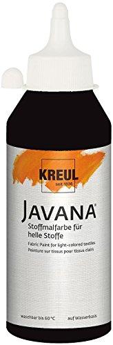 Kreul 91310 Javana Stoffmalfarbe für helle Stoffe, geschmeidige Farbe auf Wasserbasis mit cremigem Charakter, 250 ml Flasche, schwarz