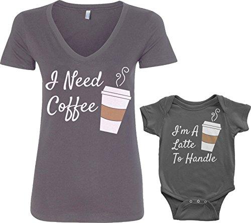 Threadrock Coffee & Latte Infant Bodysuit & Women's V-Neck T-Shirt Set (Baby: 12M, Charcoal|Women's:...