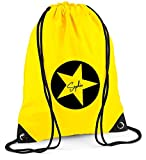 Turnbeutel mit Namen   Motiv Stern Sterne inkl. Namensdruck   Personalisieren & Bedrucken   Sportbeutel Schuhbeutel dunkel-blau für Jungen & Mädchen Kinder   Rucksack zum Zuziehen (gelb)